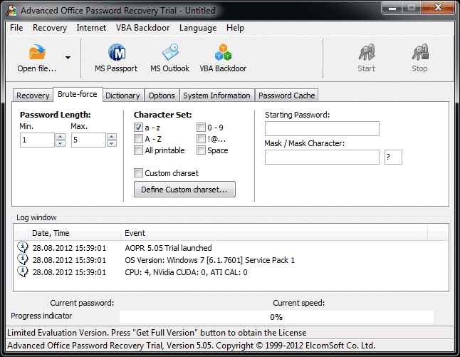Advanced Office Password Recovery configuring password template