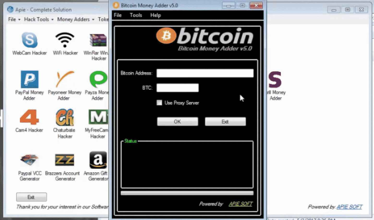 Apie Solution with Bitcoin Money Adder