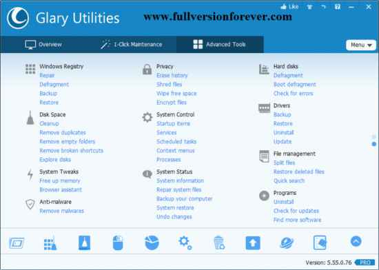 Glary Utilities PRO Advanced Tools list for optimizing system performance