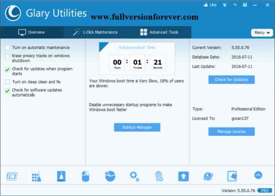 Glary Utilities PRO all in one system optimizer software for window