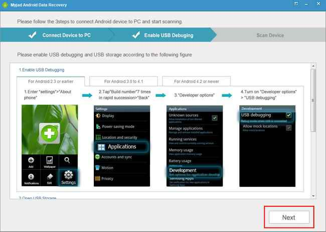 Myjad android data recovery how to enable usb debugging