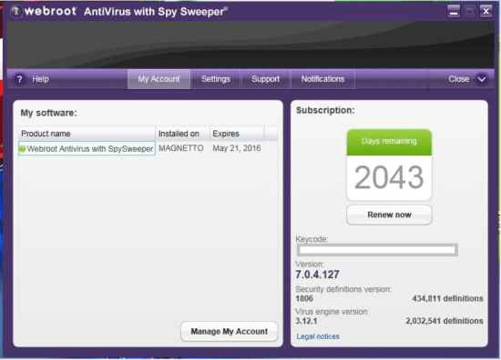 webroot antivirus with spy sweeper For Windows 8