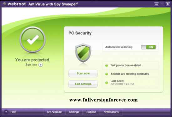 webroot antivirus with spy sweeper For Windows XP