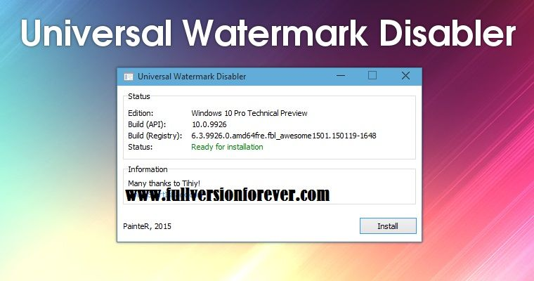 Windows technical preview watermark remover